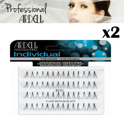 2x Ardell Individual Medium Black Duralash Flare Eyelashes False Lash Cosmetics