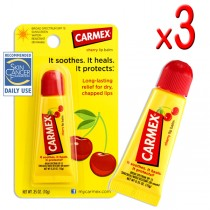 Carmex Cherry Lip Balm Tube 10g (Pack of 3)