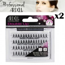 2x Ardell Individual Double Flares Medium Black Knot Free False Eyelashes Black