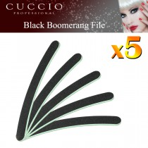 5x Cuccio Nail File Black Boomerang Curved Acrylic Gel 100/180 Grit Green Centre