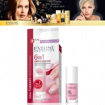 Eveline 6 In 1 French Care & Colour Nail Conditioner & Therapy Rose E-k Rose 5ml