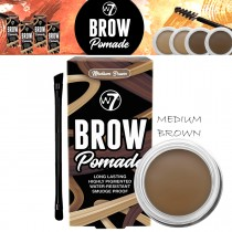 W7 Cosmetics Brow Pomade Long Lasting Water Resistant Easy Brush - Medium Brown
