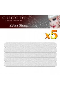 5 x Cuccio Pro Nail File Zebra Straight Edges Arcylic Gel (180/180 Grit) Single