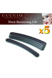 5 x Cuccio Pro Nails File Black Boomerang Curved Acrylic Gel 80 Grit Blue Centre
